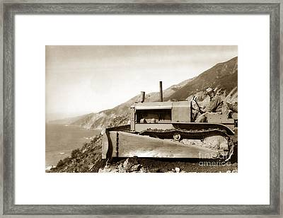 Bull Dozer Road Construction On Highway One Big Sur Circa 1930 Framed Print by California Views Mr Pat Hathaway Archives