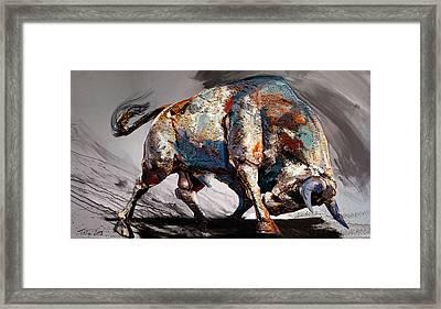 Bull Fight Back Framed Print by Dragan Petrovic Pavle