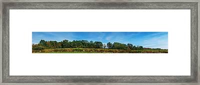 Bull Horn Creek Farm Wineyard New York Panoramic Photography Framed Print by Paul Ge