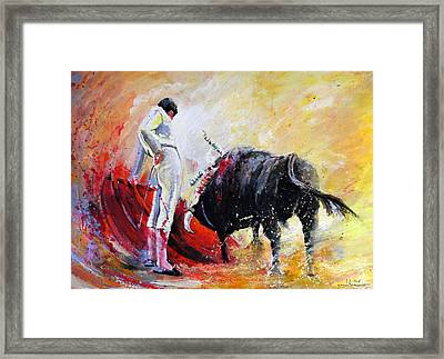 Bull In Yellow Light Framed Print