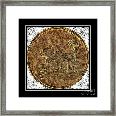 Bull Moose - Brass Etching Framed Print by Barbara Griffin