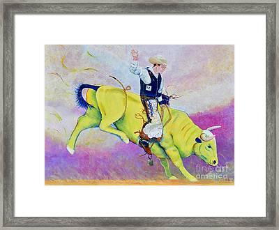 Bull Rider Wren Framed Print by Christine Belt