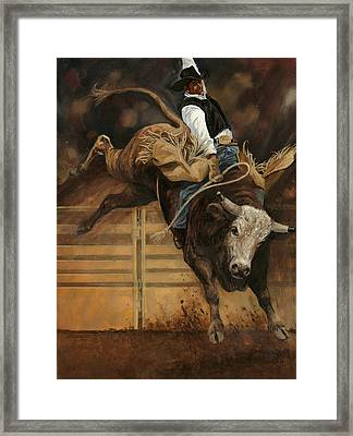 Bull Riding 1 Framed Print by Don  Langeneckert