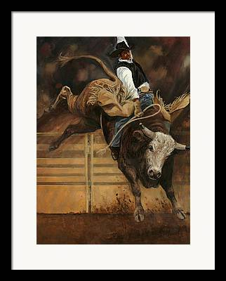 Bull Riding Framed Prints