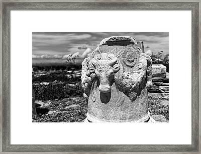 Bull Sculpture On Delos Mono Framed Print by John Rizzuto