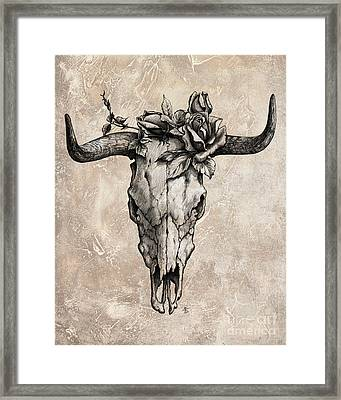 Bull Skull And Rose Framed Print by Emerico Imre Toth