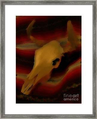 Bull Skull One Framed Print by John Mlaone