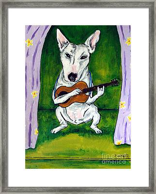 Bull Terrier Playing Guitar Framed Print by Jay  Schmetz