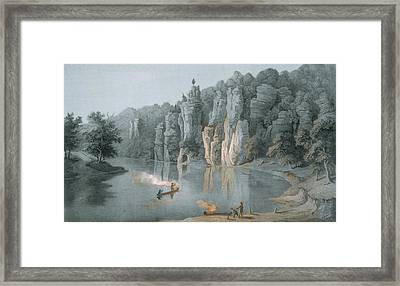 Bullard Rock On The New River Framed Print by Edward Beyer