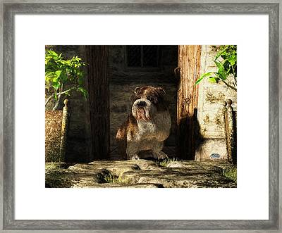 Bulldog In A Doorway Framed Print by Daniel Eskridge