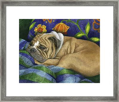 Bulldog Napping Framed Print