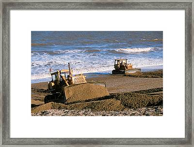 Bulldozers Rebuilding Beach Framed Print by Ashley Cooper