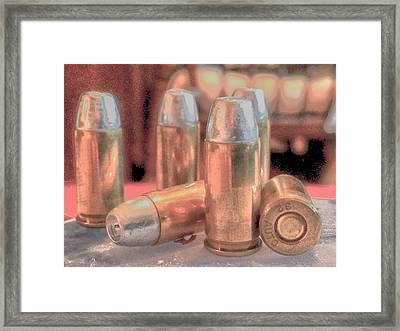 Bullet Art Hollow Point Soft Gold Framed Print by Lesa Fine