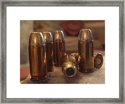 Bullet Art Hollow Point Gold Retro Art Framed Print by Lesa Fine