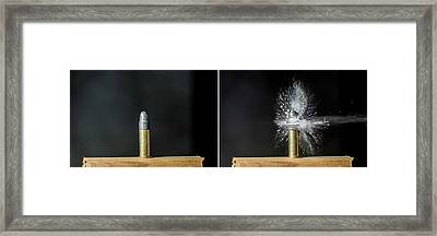 Bullet Hits Cartridge Framed Print