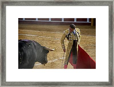 Bullfighter Manuel Ponce Performing During A Corrida In The Bullring Framed Print by Perry Van Munster