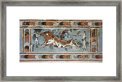 Bullfighting Scene. Ca. 1500 Bc. Fresco Framed Print