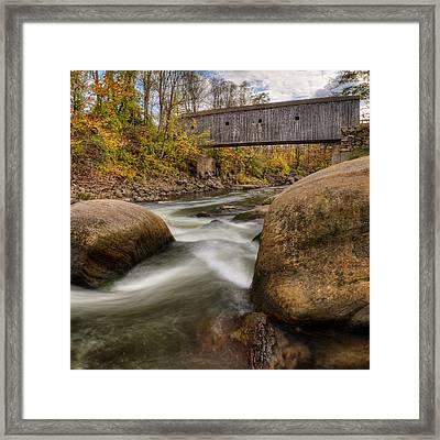 Bulls Bridge Autumn Square Framed Print by Bill Wakeley