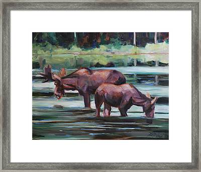 Bullwinkle And Friend Framed Print by Billie Colson
