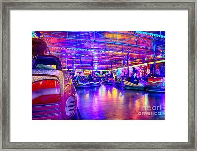 Bumper Cars At The Octoberfest In Munich Framed Print