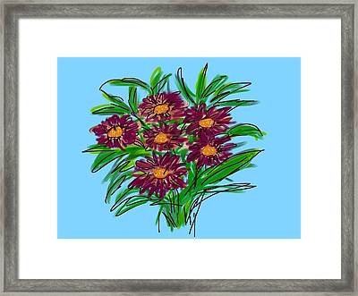 Framed Print featuring the digital art Bunch Of Daisies by Christine Fournier