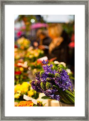 Bunch Of Flowers At A Flower Shop, Rue Framed Print