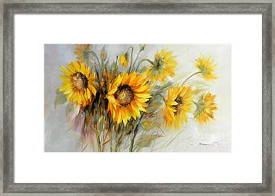 Bunch Of Sunflowers Framed Print by Petrica Sincu