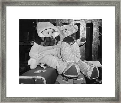 Bundled Up Baby & Teddy Bear Framed Print by Underwood Archives