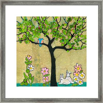 Bunnies And Birds Tree Framed Print by Blenda Studio