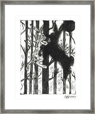 Bunnies At Dark Framed Print by Monica Warhol