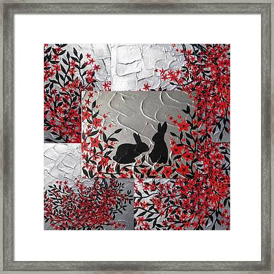 Bunnies In Blossom Framed Print by Cathy Jacobs