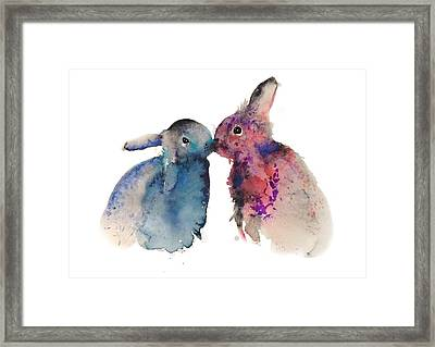 Bunnies In Love Framed Print by Krista Bros