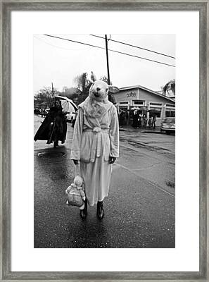 Bunny Head In The Rain On Mardi Gras Day Framed Print