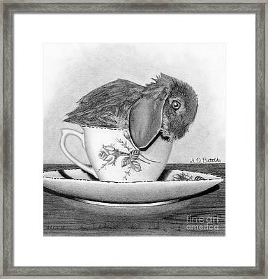 Bunny In A Tea Cup Framed Print by Sarah Batalka