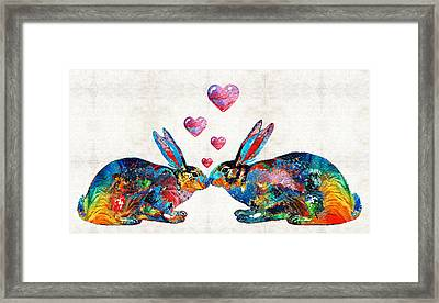 Bunny Rabbit Art - Hopped Up On Love - By Sharon Cummings Framed Print by Sharon Cummings