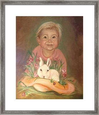Framed Print featuring the painting Bunny Rabbit by Sharon Schultz