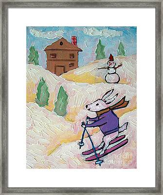 Bunny Skiing Framed Print by Jay  Schmetz
