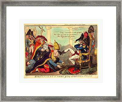 Buonaparte At Rome Giving Audience In State, Cruikshank Framed Print
