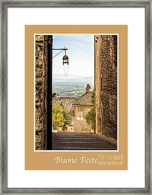 Buone Feste With Valley Outside Of Assisi Framed Print