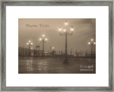 Buone Feste With Venice Lights Framed Print
