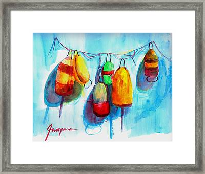 Colorful Buoys Framed Print