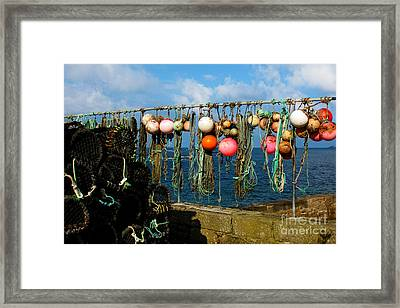 Buoys And Pots In Sennen Cove Framed Print by Terri Waters