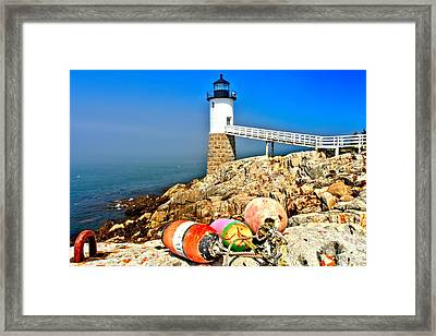 Buoys At The Headlight Framed Print