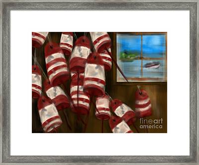 Buoys With A View      Framed Print by Christine Fournier