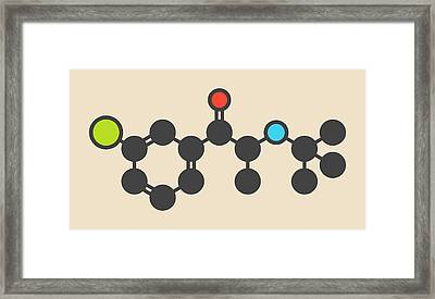 Bupropion Drug Molecule Framed Print by Molekuul
