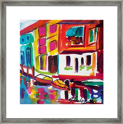 Burano Italy Side Street Sold Original Framed Print by Therese Fowler-Bailey
