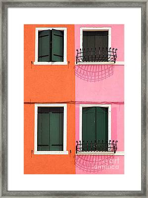 Burano Pink And Orange Framed Print by Inge Johnsson