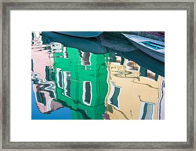 Burano Reflected Framed Print by Joan Herwig