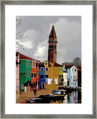 Burano Tower Framed Print
