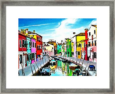 Framed Print featuring the painting Burano - Venice - Italy by Ze  Di